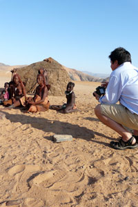 Ninian meeting a Himba family